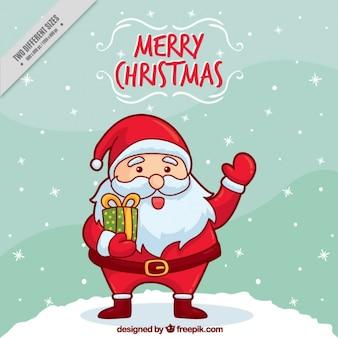 Hintergrund der hand schöne weihnachtsmann-gruß gezeichnet