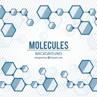 Hintergrund der hexagonalen strukturen von molekülen in flachem design