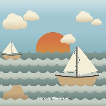 Hintergrund der hübschen boote im meer