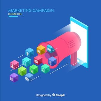 Hintergrund der isometrischen Marketingkampagne