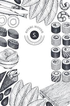 Hintergrund der japanischen küche rahmen ein