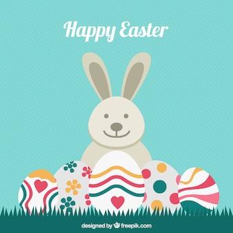 Hintergrund der kaninchen mit dekorativen ostereier