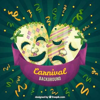 Hintergrund der karneval-masken und serpentin