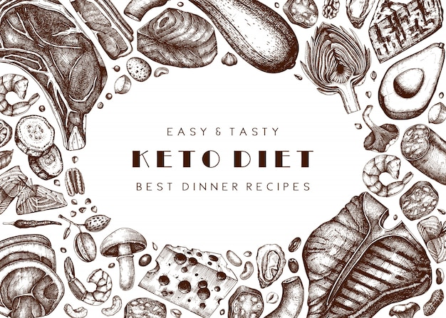 Hintergrund der ketogenen ernährung. hand gezeichnete illustrationen von bio-lebensmitteln und milchprodukten. keto-diätelemente - fleisch, gemüse, getreide, nüsse, pilze.