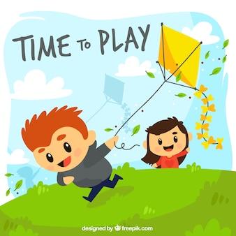 Hintergrund der kinder mit einem drachen spielen