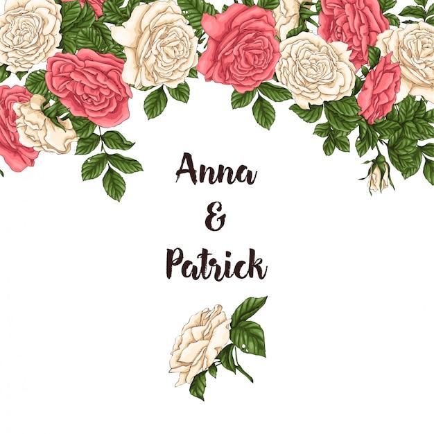 Hintergrund der korallenroten rosen. handzeichnung