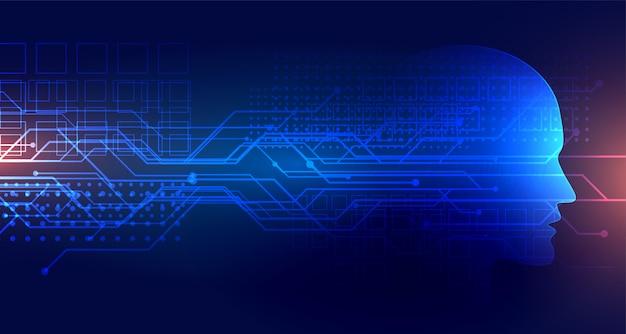Hintergrund der künstlichen intelligenz der technologie mit gesicht