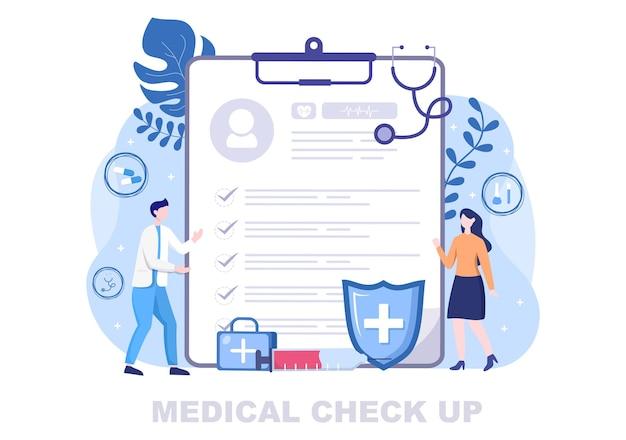 Hintergrund der landing page illustration des medizinischen gesundheitschecks