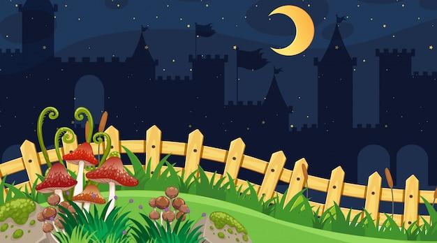 Hintergrund der landschaft mit park nachts
