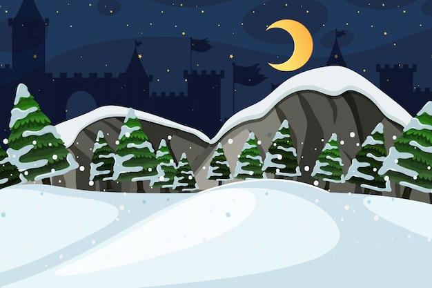 Hintergrund der landschaft mit schneefeld nachts