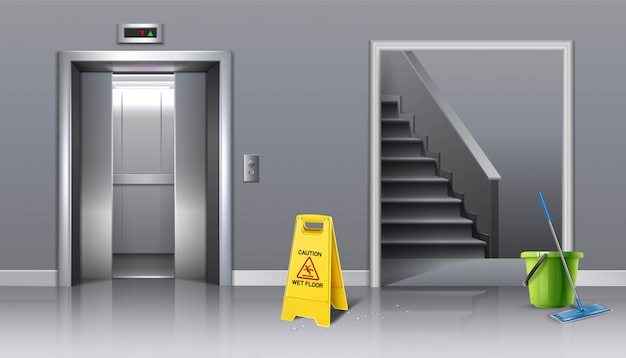 Hintergrund der laufenden reinigung aufzugshalle und treppe mit gelbem schild vorsicht nass und eimer wasser mit einem mopp.