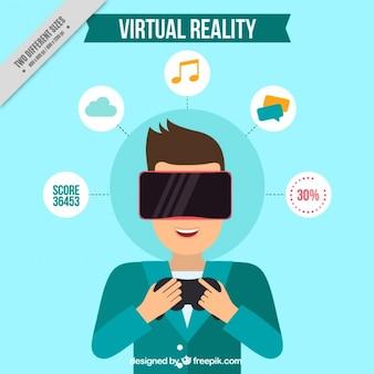 Hintergrund der mann mit virtuellen gläsern und mehrere symbole lächelnd