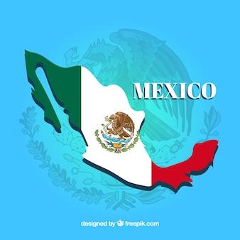 Hintergrund der mexikanischen flagge mit karte