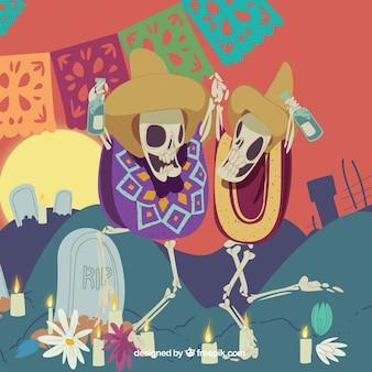 Hintergrund der mexikanischen skelette tanzen auf dem friedhof