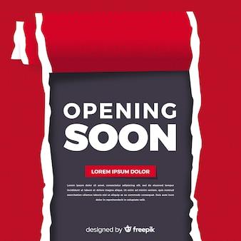 Hintergrund der modernen öffnung bald mit papierzeichen