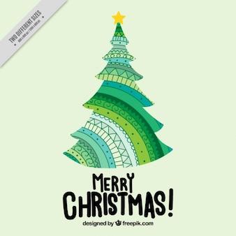 Hintergrund der niedlichen hand gezeichnet weihnachtsbaum