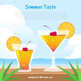 Hintergrund der orange cocktail mit kirsche