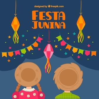 Hintergrund der paar mit hut feiern party junina
