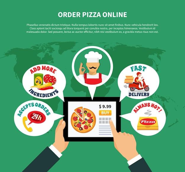 Hintergrund der pizza-online-bestellanwendung mit weltkarte und tablette mit gedankenblasenaufklebern und textvektorillustration