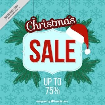 Hintergrund der schneeflocken mit weihnachtsverkaufsplakat Kostenlosen Vektoren