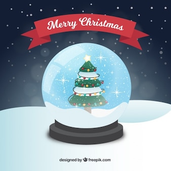 Hintergrund der schneekugel mit weihnachtsbaum