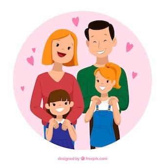Hintergrund der schönen familie im vintage-stil