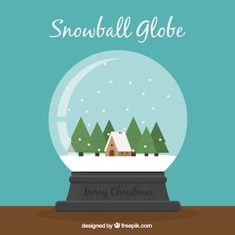 Hintergrund der schönen schneeball mit haus und bäume