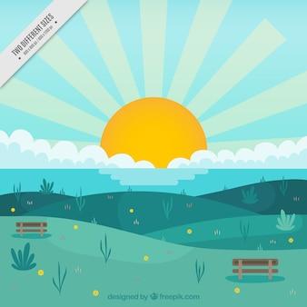 Hintergrund der schönen sonnigen landschaft mit meer und hügeln