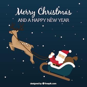 Hintergrund der schönen weihnachtsmann auf schlitten fliegen