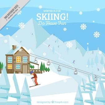 Hintergrund der seilbahn und skifahrer in flaches design