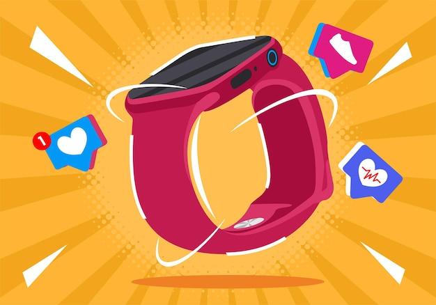 Hintergrund der smartwatch-vektorillustration