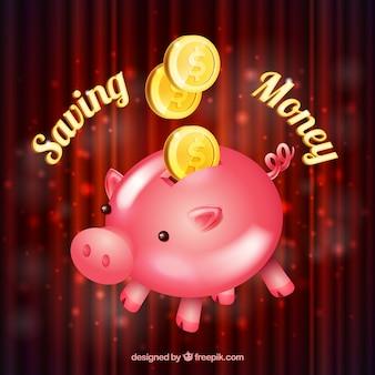 Hintergrund der sparschwein mit münzen