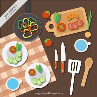 Hintergrund der tabelle mit köstlichen speisen in flachen design