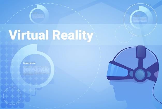Hintergrund der virtuellen realität mit kopienraum-mann, der vr-schutzbrillen trägt