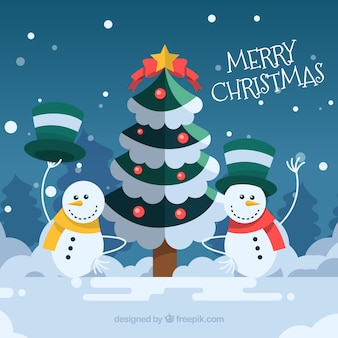 Hintergrund der weihnachtsbaum mit schneemänner
