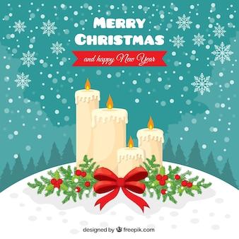 Hintergrund der weihnachtskerzen und schneeflocken