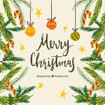 Hintergrund der weihnachtszweige im vintage-stil