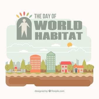 Hintergrund der welt-habitat-tag mit schönen häusern