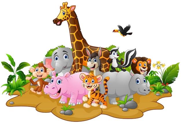 Hintergrund der wilden tiere der karikatur