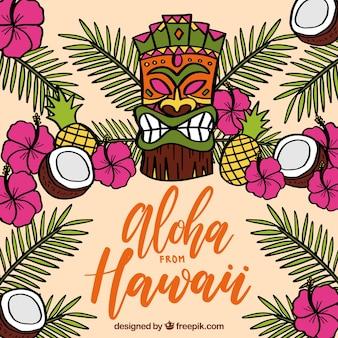 Hintergrund der wilden tiki maske mit blättern von palmen und kokosnuss