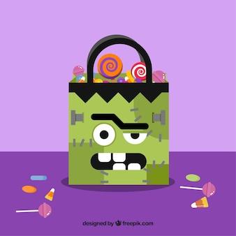 Hintergrund der zombie-tasche mit süßigkeiten in flachen design