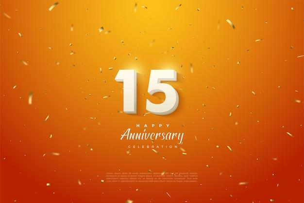 Hintergrund des 15. jahrestages mit glänzender versilberter ziffernillustration