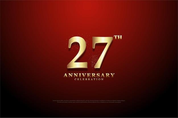 Hintergrund des 27. jahrestages mit der illustration der goldenen ziffern auf rotem hintergrund der vignette.
