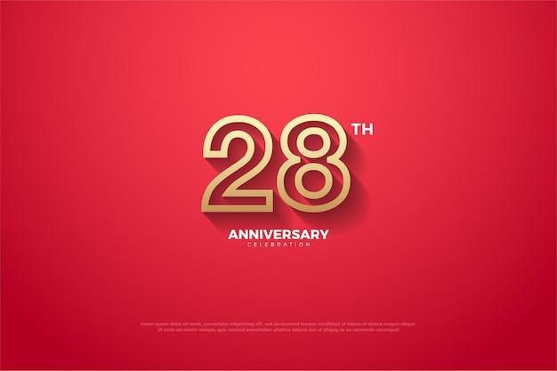 Hintergrund des 28. jahrestages mit braunem numerischem umriss auf rotem hintergrund Premium Vektoren
