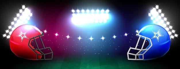 Hintergrund des amerikanischen fußballstadions mit einem helm