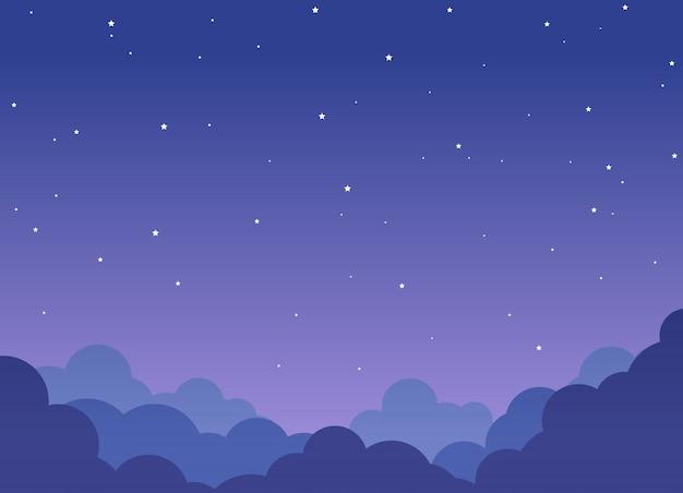 Hintergrund des bewölkten himmels der nacht mit glänzenden sternen