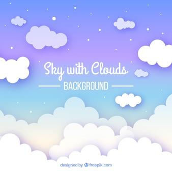 Hintergrund des bewölkten himmels in der flachen art