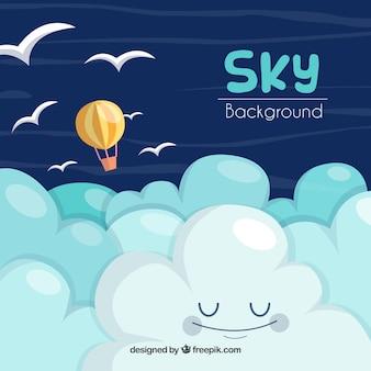 Hintergrund des bewölkten himmels mit buntem ballonfliegen
