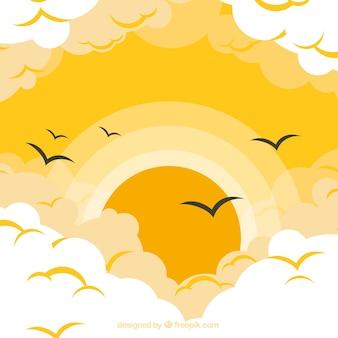 Hintergrund des bewölkten himmels mit großer sonne in der flachen art