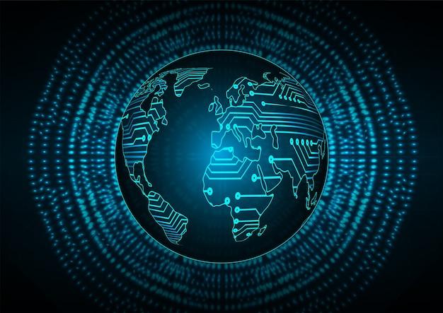Hintergrund des blauen globalen cybersicherheitskonzepts der globalen welt.